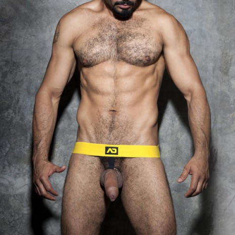 Addicted Fetish ADF59 Cockring Jockstrap Yellow voorkant