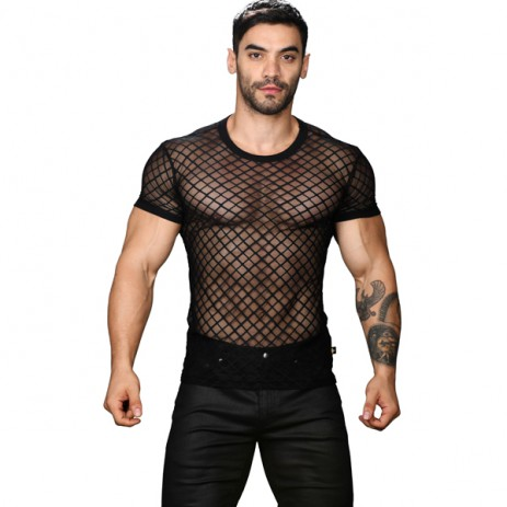 Andrew Christian Lattice Lace Tee Shirt