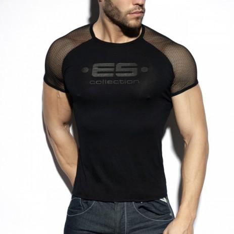 ES Collection Ranglan Mesh T-Shirt - Zwart voorkant