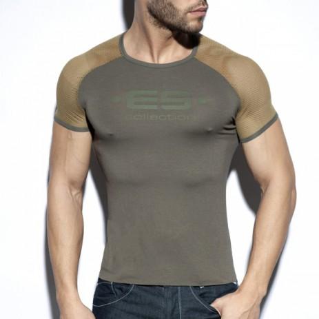 ES Collection Ranglan Mesh T-Shirt - Khaki voorkant