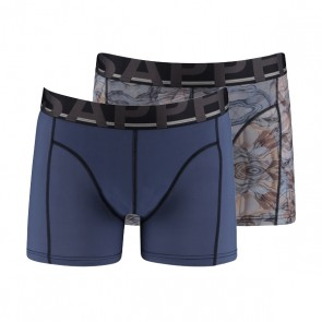 Sapph 2-Pack Boxers Micro Bufalo Print & Night Shadow Blue