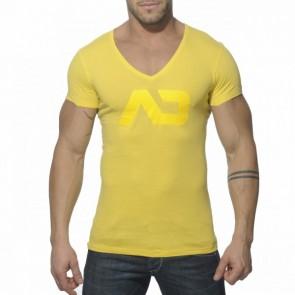 Addicted AD214 Vintage V-Hals T-Shirt Geel Voorkant