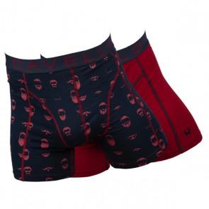Cavello 2 Pack Boxershorts - Baard en Snor Print / Rood