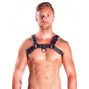Mister B Leather Chest Harnas Zwart Voorkant