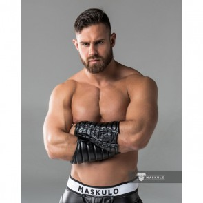 Maskulo Armored Leather-Look Forearm Wallet - Black