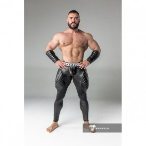 Maskulo Armored Leggings - Open Rear - With Codpiece - Black