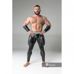 Maskulo Armored Fetish Leggings With Codpiece - Black