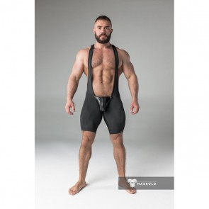 Maskulo Armored Fetish Wrestling Singlet - Black