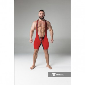 Maskulo Armored Fetish Wrestling Singlet Open Rear - Red