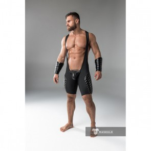 Maskulo Armored Men's Fetish Wrestling Singlet - Zwart