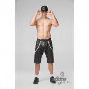 Maskulo Skulla Fetish Windbreaker Shorts - Wit